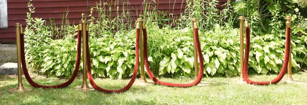 Deco theater stanchions, bronze with velvet rope (189-12)