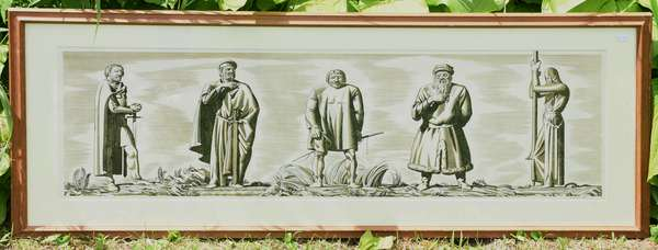 "Rockwell Kent print/woodblock from Canterbury Tales, 34"" x 11"" (189-19)"