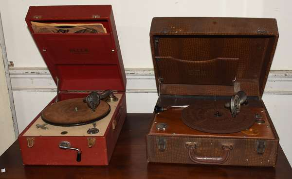 Decca suitcase model Victrola along with other suitcase Birch Victrola (293-17)