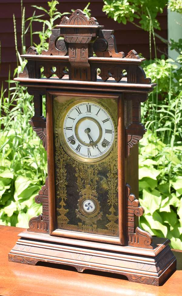 """Glass decorated mantle clocks, 16""""W. x 24""""H. (696-38)"""