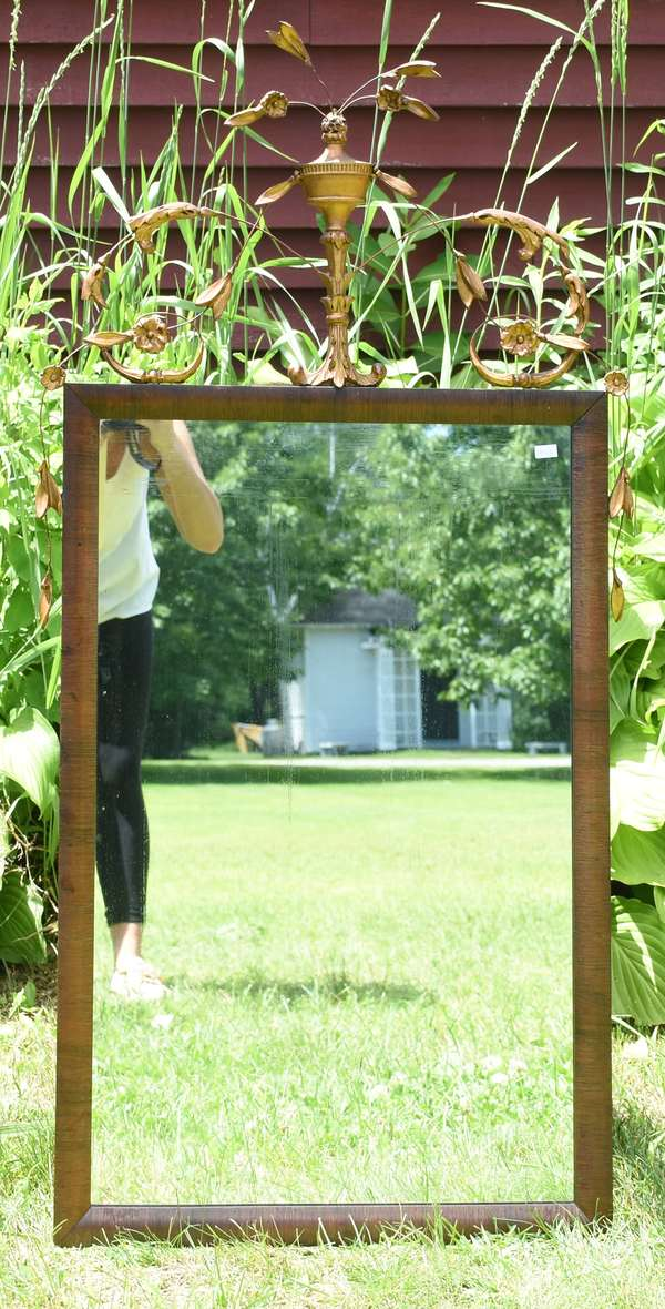 """Early 20th C. wall mirror with decoration, 43.5""""H. (189-20)"""