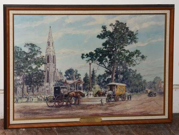 "John Gould print ""The Harriman Fountain Goshen NY"", 19.5"" x 29"" (293-8)"