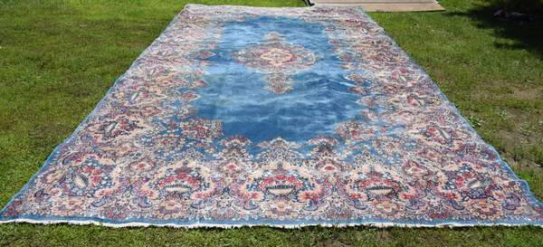 """Very large Oriental rug, turquoise field, 9'7"""" x 18'6"""" (696-41)"""
