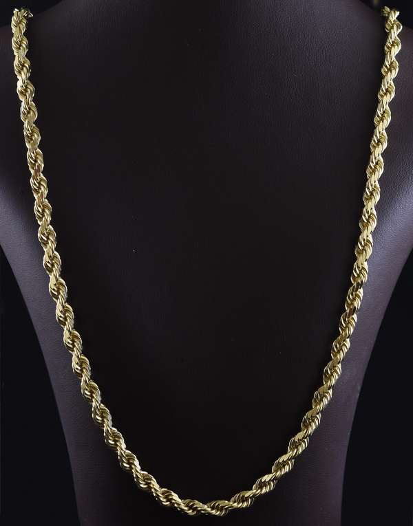 "Jewelry: 14k yellow gold neck chain, roped design, 56 grams, 22""L."