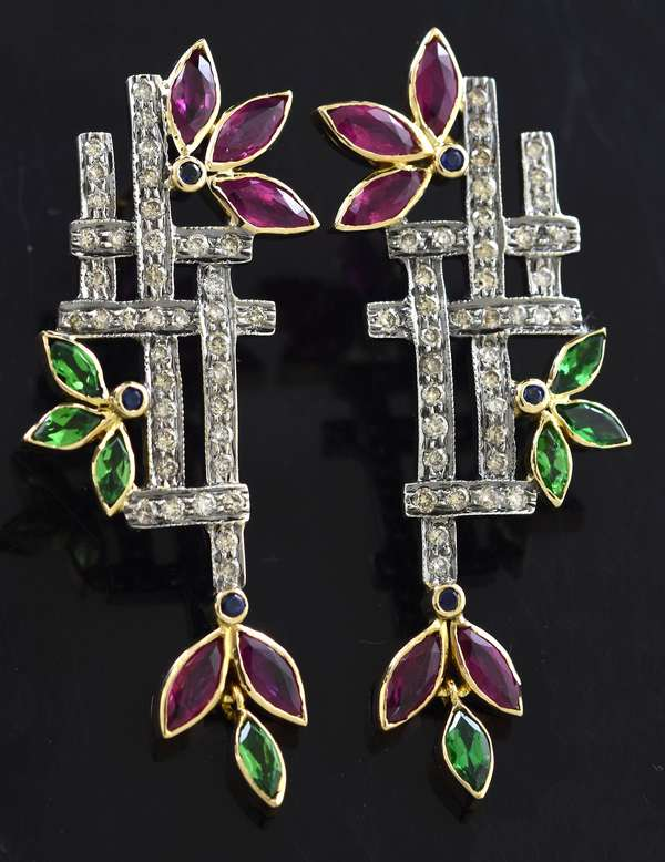 Jewelry: Pair of ruby, emerald and diamond earrings, gold over silver, 3""