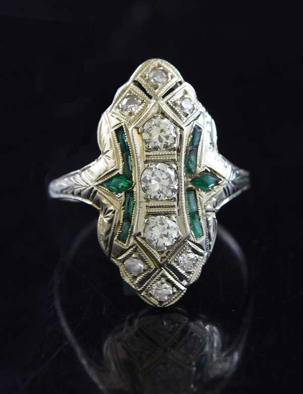 Jewelry: 18k white gold antique diamond and emerald ring, size 8.5