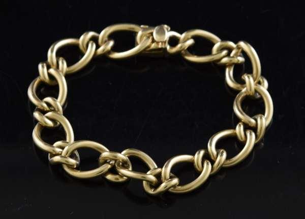 "Jewelry: 14k yellow gold linked bracelet, 7.5""L., 42 grams"
