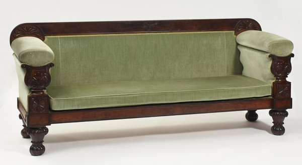 "Fine classical mahogany Boston sofa, in green velvet upholstery, ca. 1830, 82""L. x 36""H. x 16"" seat height"