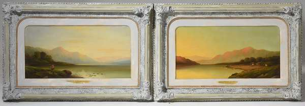 "Pair of 19th C. Northern Wales oils on canvas by C. Leslie, ""Llyn Dinas"" and ""Dartmouth Waters"", 12"" x 24"""