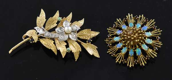 Jewelry: 18k yellow gold opal and garnet pin, 9.8 grams and a 14k yellow gold leaf and flower pin with diamonds, turquoise and blue sapphire, .45 ctw, 11.9 grams (15,31)
