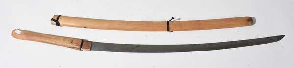"Japanese Samurai sword with military blade, Shirasaya mount, 36""L."