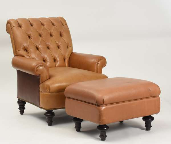 "Tufted brown studded leather club chair with ottoman, 29""W. x 39""H."