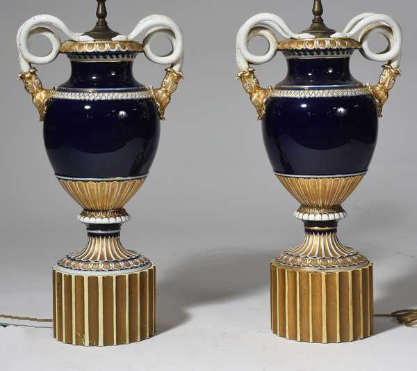 "Pair of Continental Meissen porcelain vases, converted to lamps, with snake-form scrolling handles, vase 18.5""H, 41""H. overall"