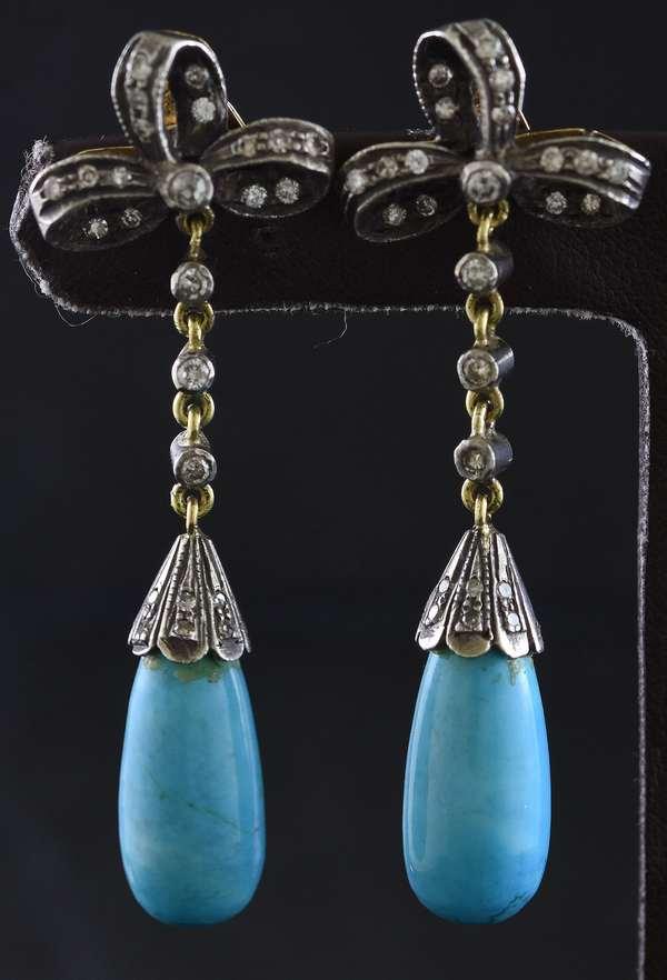 Turquoise & rose cut diamond drop earrings