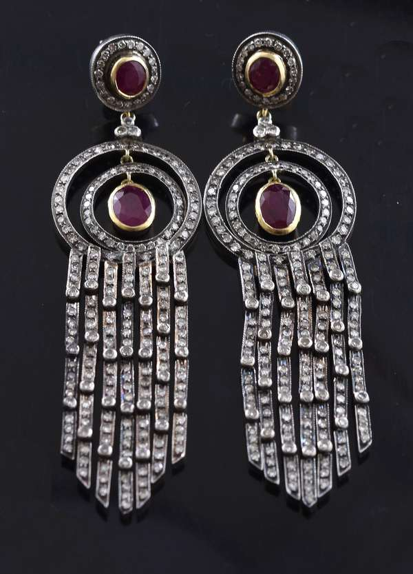 Ruby and diamond silver topped dangle earrings