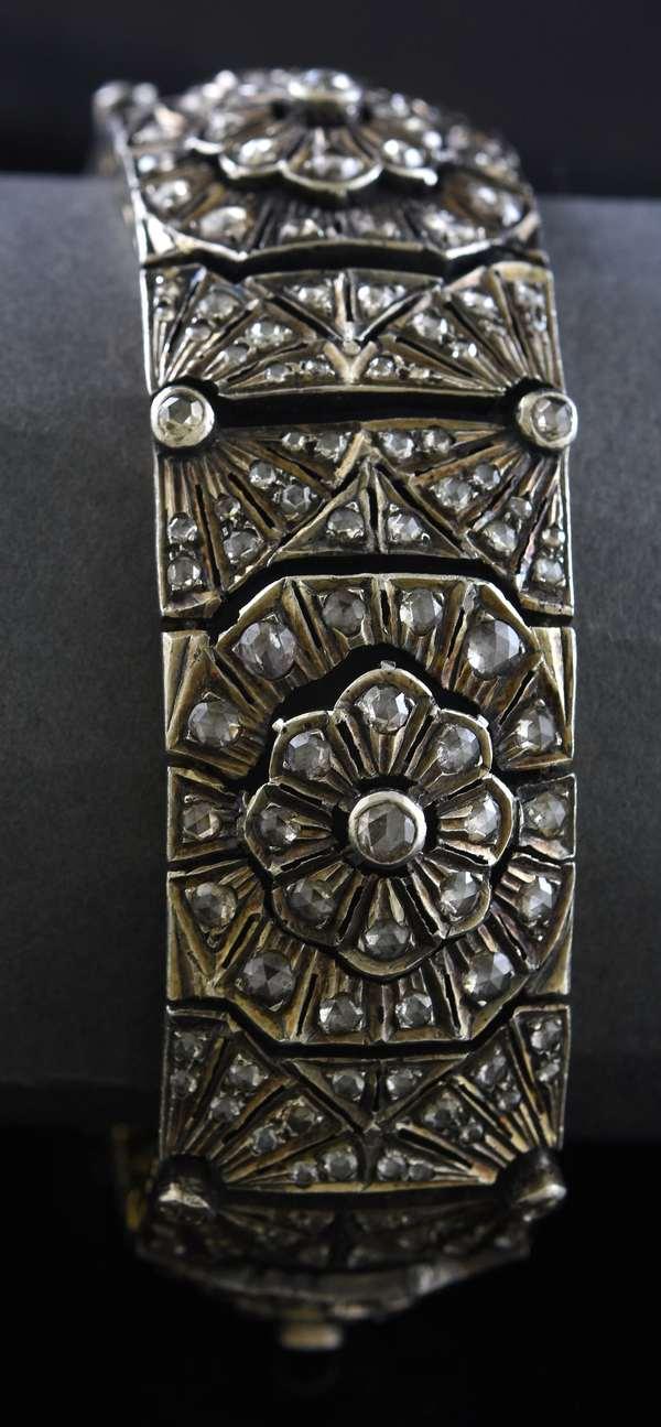 Rose cut diamond silver topped bracelet