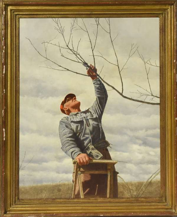 "A fine oil on board by Doug Brega, ""Pruning"", featured on cover of March 1980 issue of Yankee Magazine, signed lower left, 27.5"" x 21""