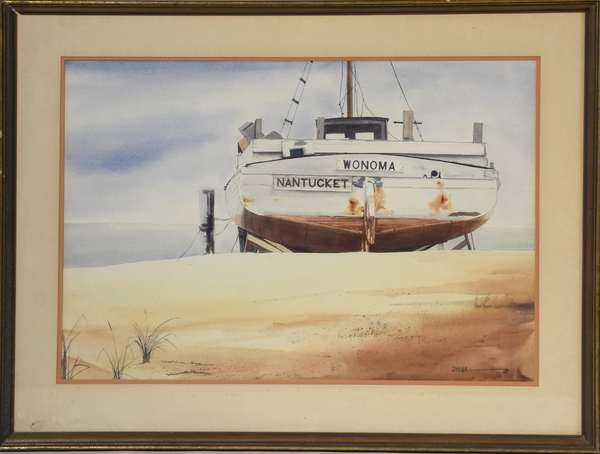 "Watercolor by Doug Brega, ""Wonoma"" Nantucket sailboat, signed lower right, 19.5"" x 27.5"" sight, (Provenance: purchased from artist by consignor, who was childhood friends with Brega)"