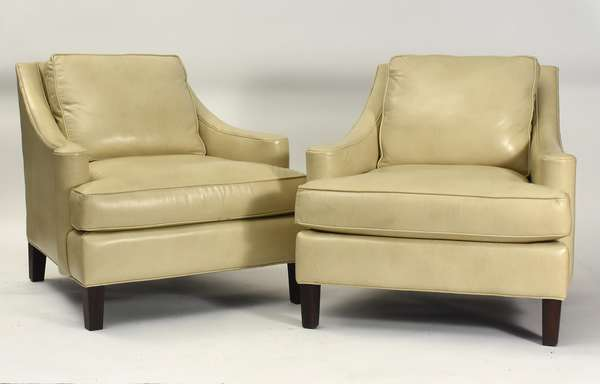 "Pair of designer Lillian August cream-colored leather lounge chairs, 33""W. x 20"" seat height x 32""H. overall"