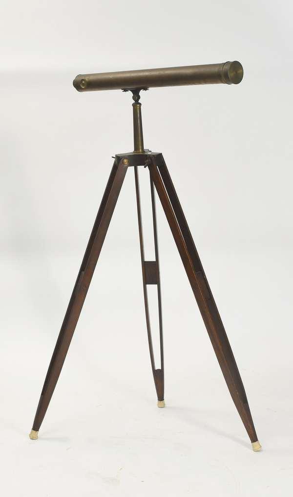 """Floor model antique telescope with tripod, by Bardou & Sons Paris, 37.5""""L. x 62""""H."""