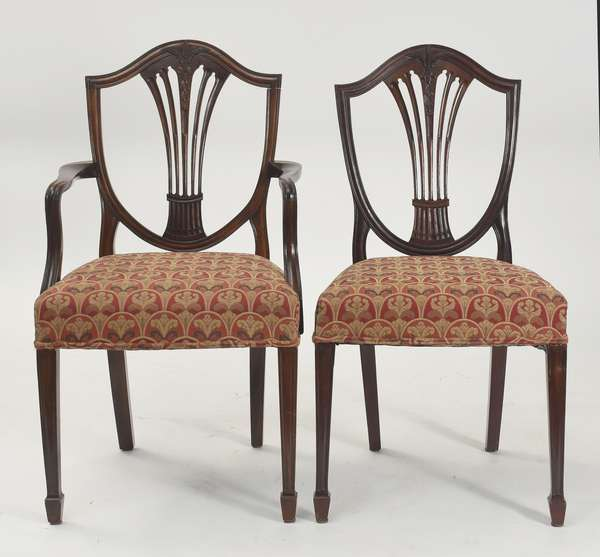 "Set of eight fine Federal shield-back dining chairs, two arms, 17"" seat height, 37.5""H. overall"