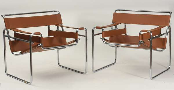 "Pair of chrome & leather Wassily style chairs, 30""H. x 30""W."