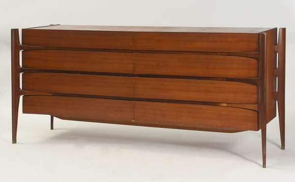 """Danish modern William Hinn style sculptural double dresser, 76""""L. x 24""""D. x 34""""H."""