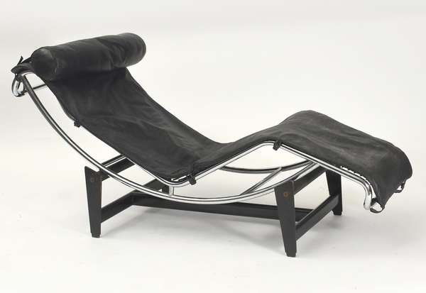 "Le Corbusier style black leather and chrome LC4 chaise lounge, 63""L. x 16""W."