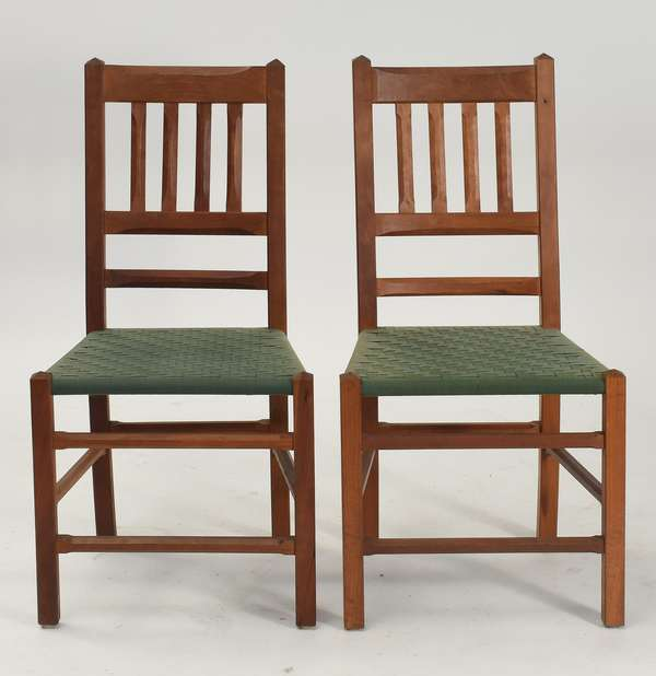 "Set of eight cherry Shackleton dining chairs with tape seats, 18""H. seat x 38""H. back"
