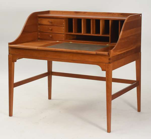 "Custom made cherry Carlton House style desk with all sorts of drawers, 44""W. x 41""H."