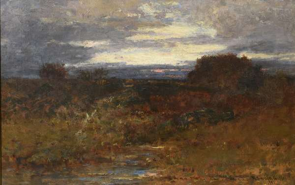 "Oil on canvas signed R. Swain Gifford, twilight landscape, 12"" x 18"""