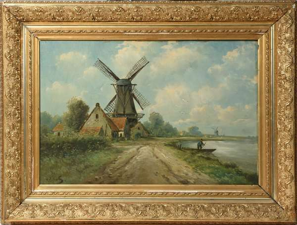 "19th C. Dutch oil on canvas, windmill in landscape, 16"" X 24"""