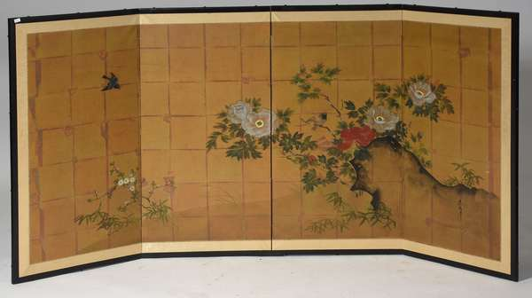 "Japanese painted four panel folding screen, bird and flower motif, 36"" x 72"""