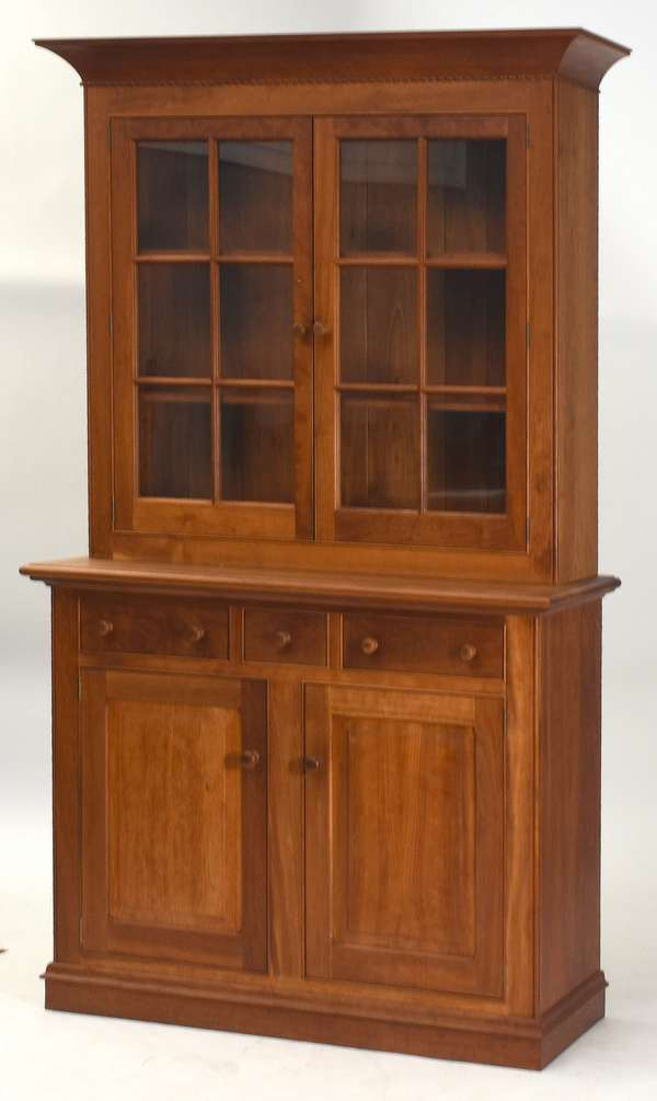 "Fine two-part cherry Shackleton hutch cupboard, 82""H. x 48""W.(retail $20,000)"
