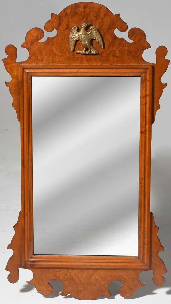 "Chippendale style curly maple mirror by Paine Furniture, 34""H."