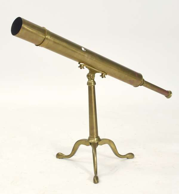 "Broadhurst Clarkson & Co. brass telescope on stand, 36""L. x 16""H."
