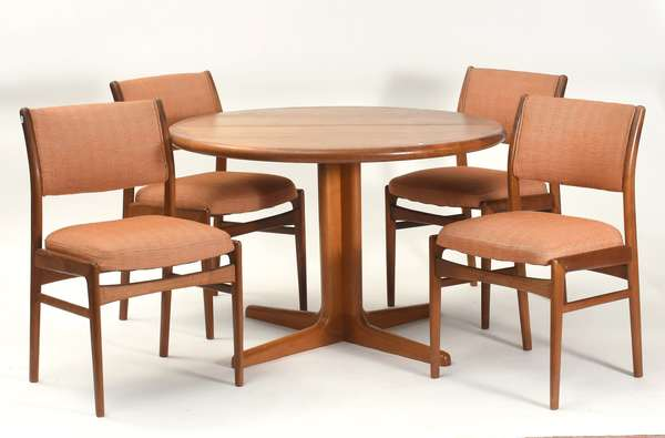 "Danish modern teakwood dining table with leaves, by E. Valentinsen, with four Mid-Century Danish modern dining chairs, table 42""W. closed x 28""H."