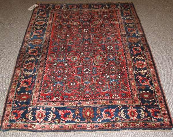 """Antique Bijar scatter rug, 3'11"""" x 5'4"""""""