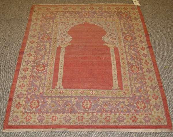 "Oriental prayer rug , 4'3"" x 3'7"""