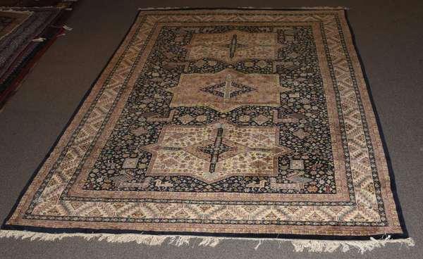 """Room size Oriental rug, three medallion, 12' x 9'3"""""""