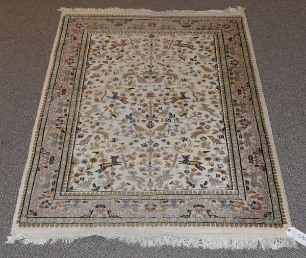 "Oriental scatter rug, 6'3"" x 4'"