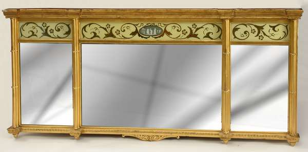 "Federal style three section over mantle mirror with eglomise tablets, 28""H. x 60""L."