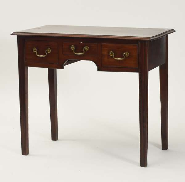 "Fine Hepplewhite mahogany three drawer side table with molded tapered legs, ca.1800, 28.5""H. x 30"" case width"