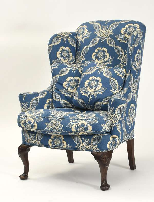 Antique Queen Anne style wing chair with shell carved knees, with clean blue and white upholstery