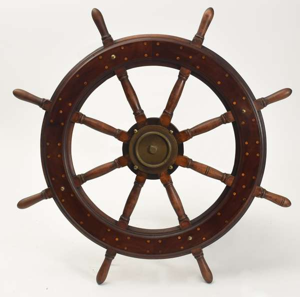 "Antique eight-spoke ships wheel, 41""Dia."