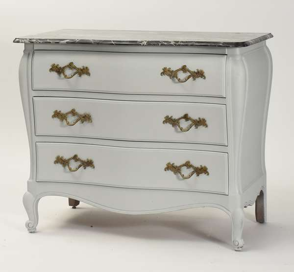 20th C. smoke gray painted French commode with marble top