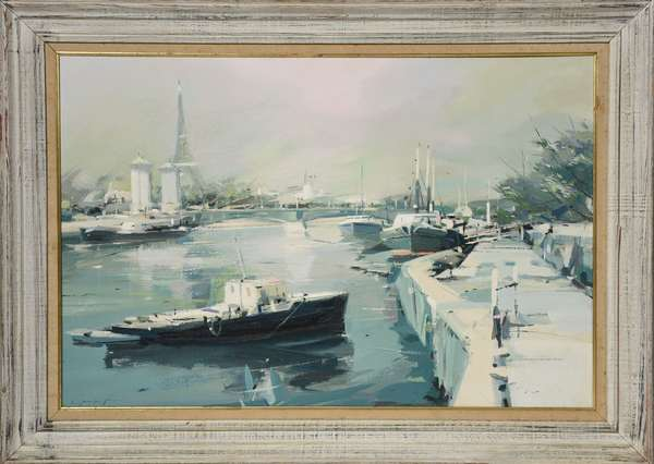 "Oil on masonite, river scene titled ""Seine, Paris"", by Charles Gruppe, 24"" x 36"""