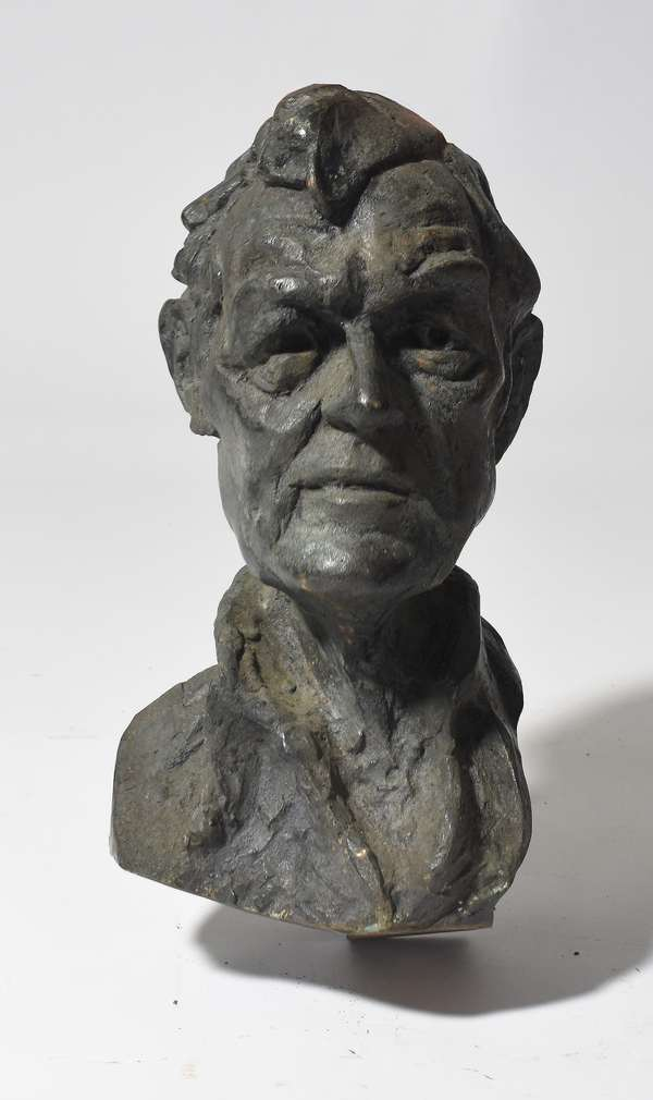 "Mid-Century bronze bust of unknown man, signed Knowles 17""H."