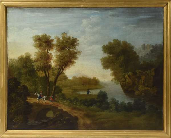 "18th C. English oil on canvas, Classical landscape with figures, 28"" x 36"""