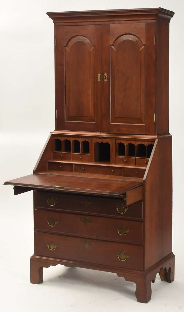"18th C. Chippendale cherry two-part secretary with bookcase top tombstone doors, CT. origin, 36""W. x 81""H."